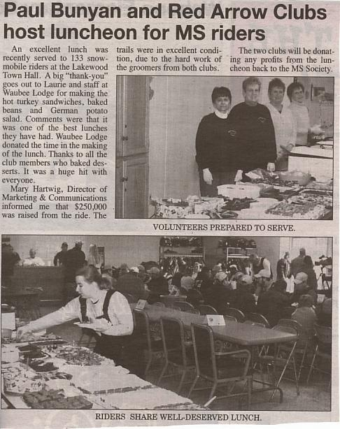 Red Arrow Club ladies assisted with lunch at the MS funraiser in January.