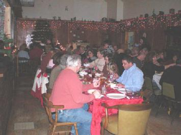 Members eating dinner at the Christmas Party