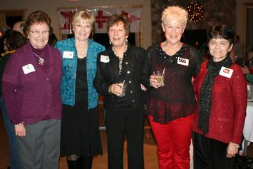 Long time club members Mary Vanderverren, Janet Bies, Mary Stehula, Mary Ann Popp and Linda Brantmeier pose for a group photo just before dinner